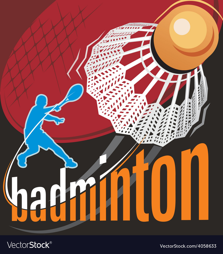 Badminton poster vector | Price: 1 Credit (USD $1)