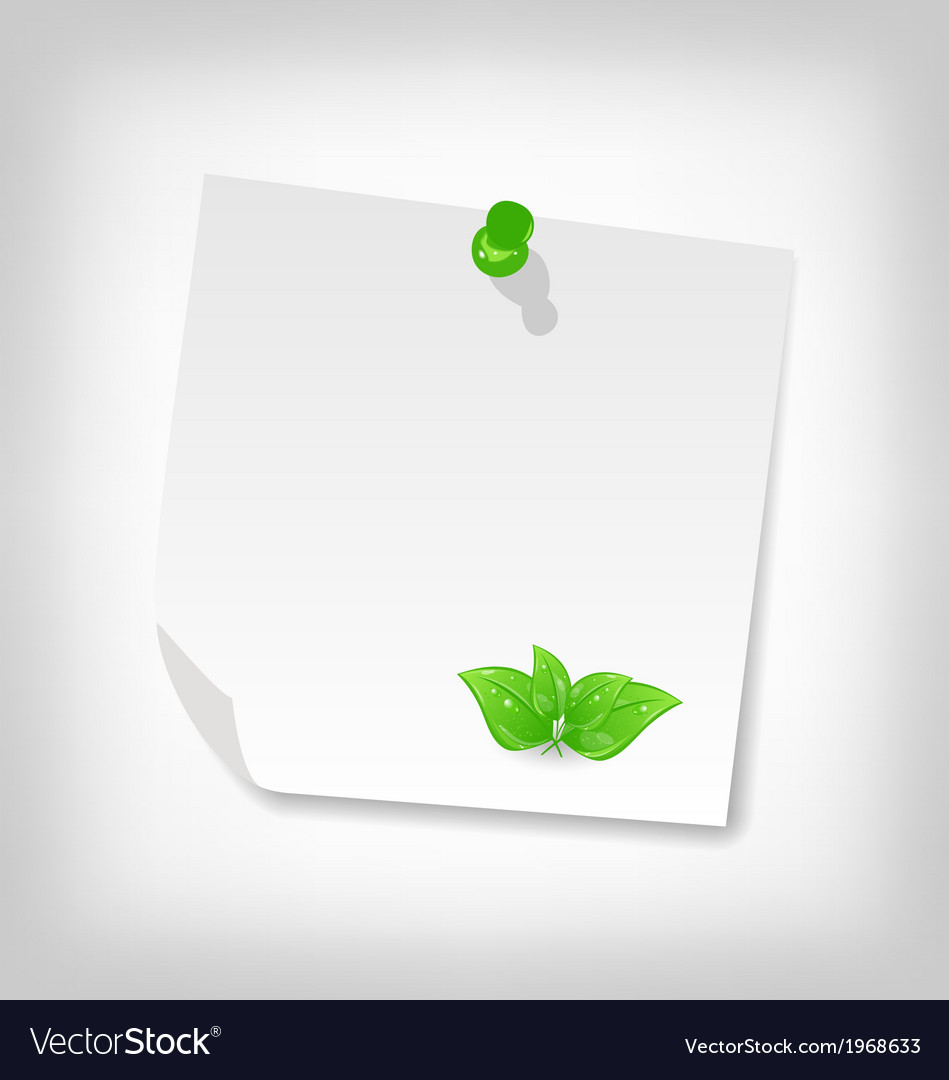 Blank note paper with green leaves isolated on vector | Price: 1 Credit (USD $1)