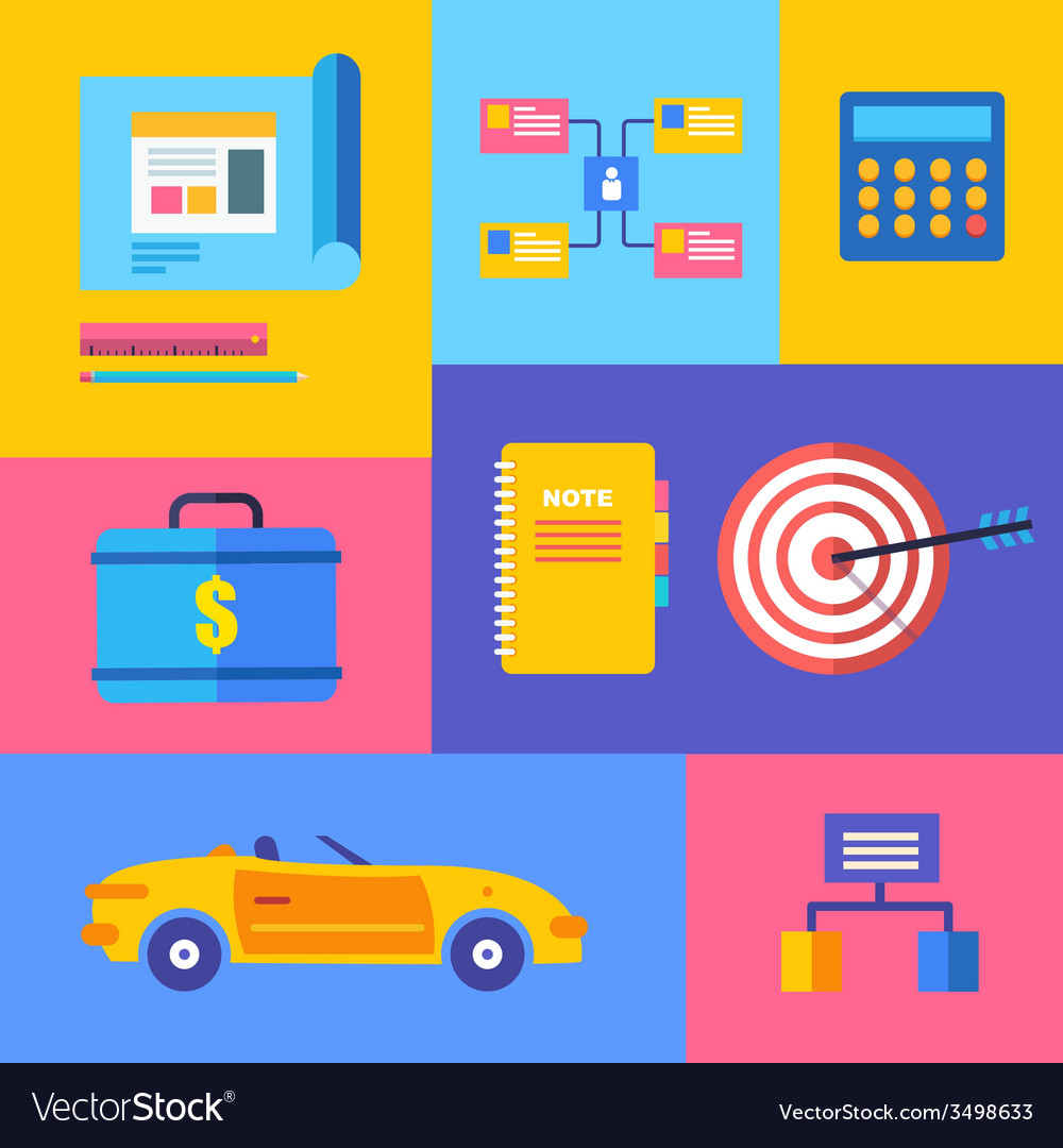 Business collection of flat and colorful web icons vector | Price: 1 Credit (USD $1)