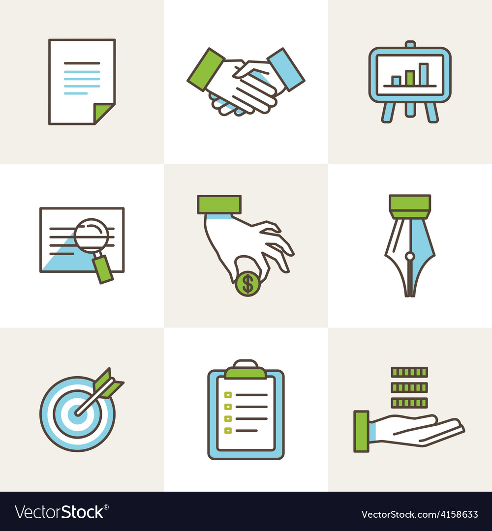 Business icons in outline style vector | Price: 1 Credit (USD $1)