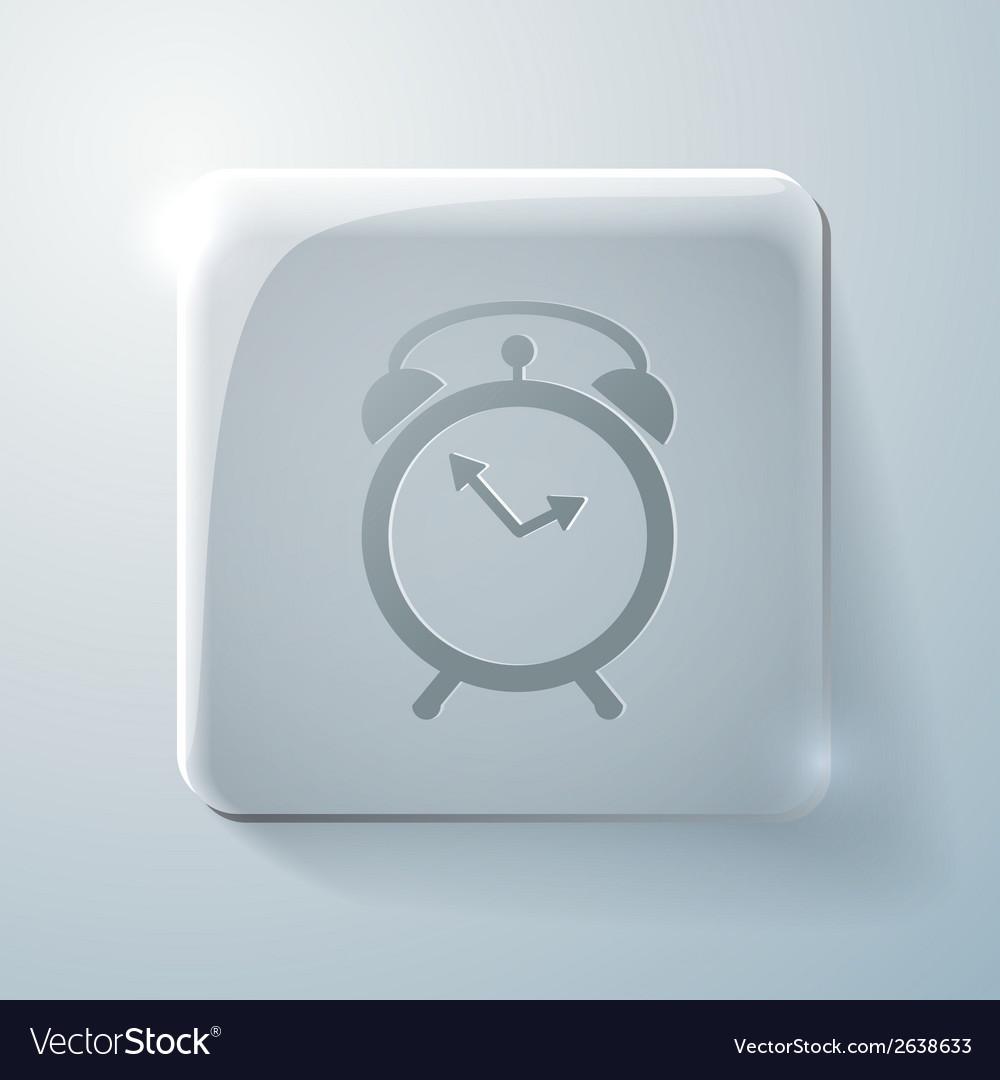Glass square icon alarm clock vector | Price: 1 Credit (USD $1)