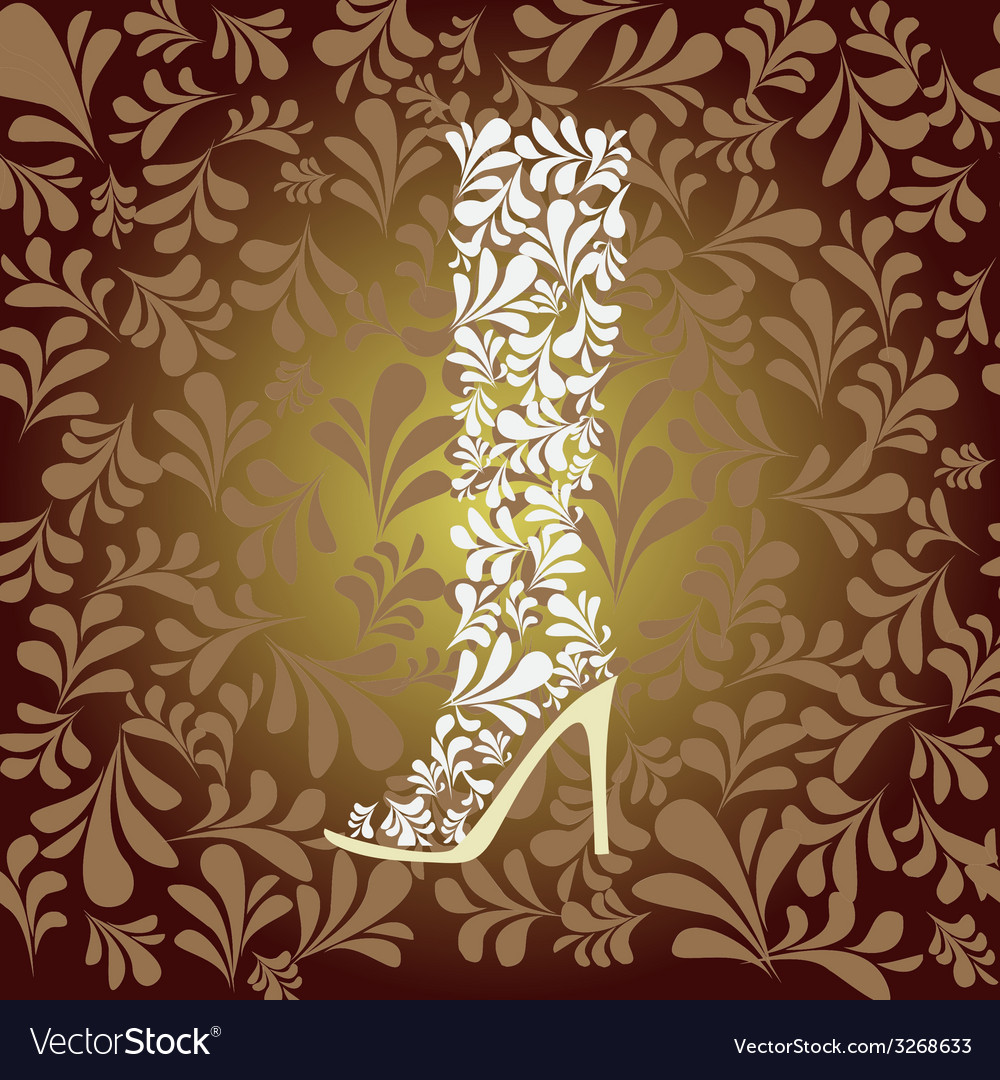 High heel boot fashion background vector