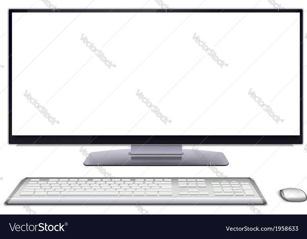 Modern desktop computer with blank screen vector | Price: 1 Credit (USD $1)