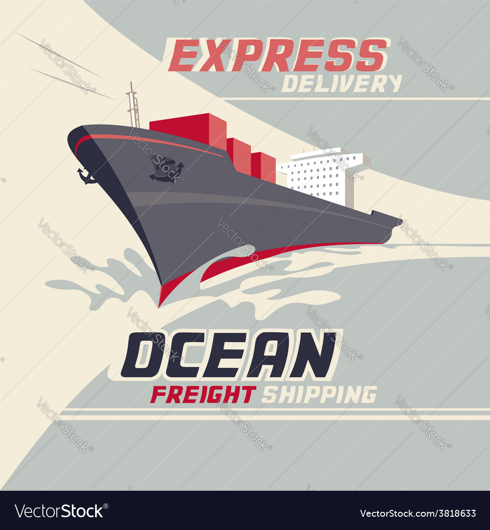 Ocean freight shipping vector | Price: 3 Credit (USD $3)