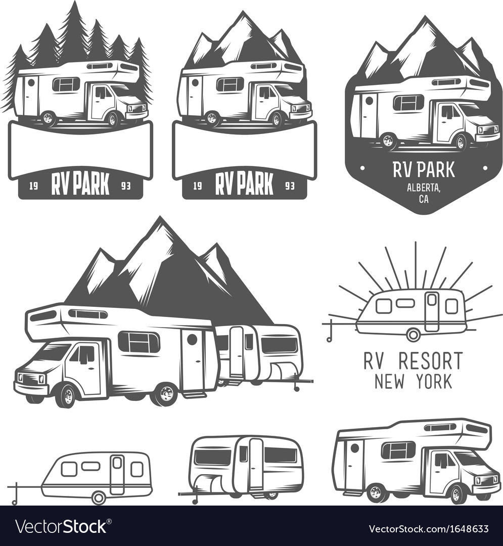 Rv and caravan park badges and design elements vector | Price: 1 Credit (USD $1)