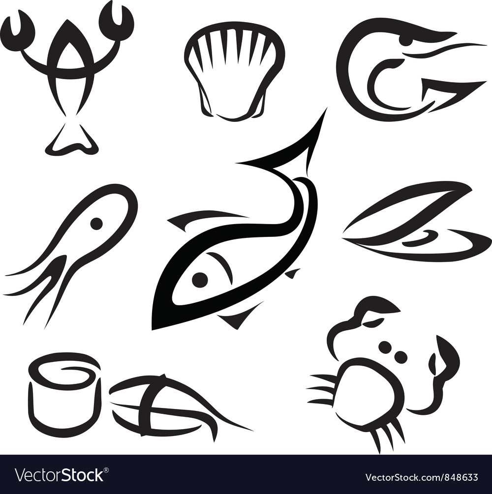 Sea food set of icons vector | Price: 1 Credit (USD $1)