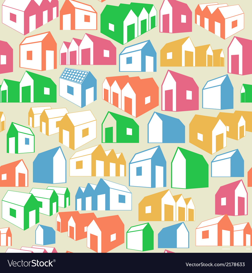 Seamless geometric background with houses vector | Price: 1 Credit (USD $1)