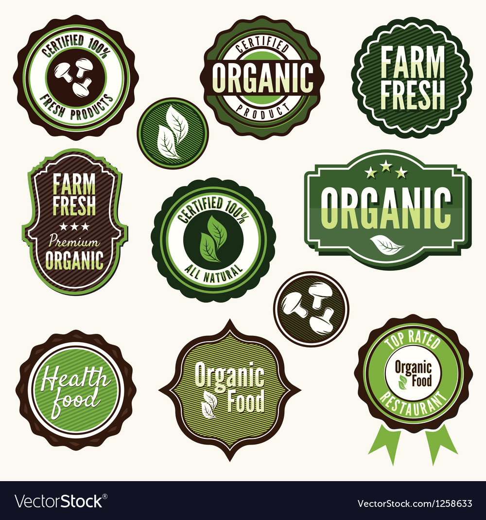 Set of organic and farm fresh food labels vector | Price: 1 Credit (USD $1)