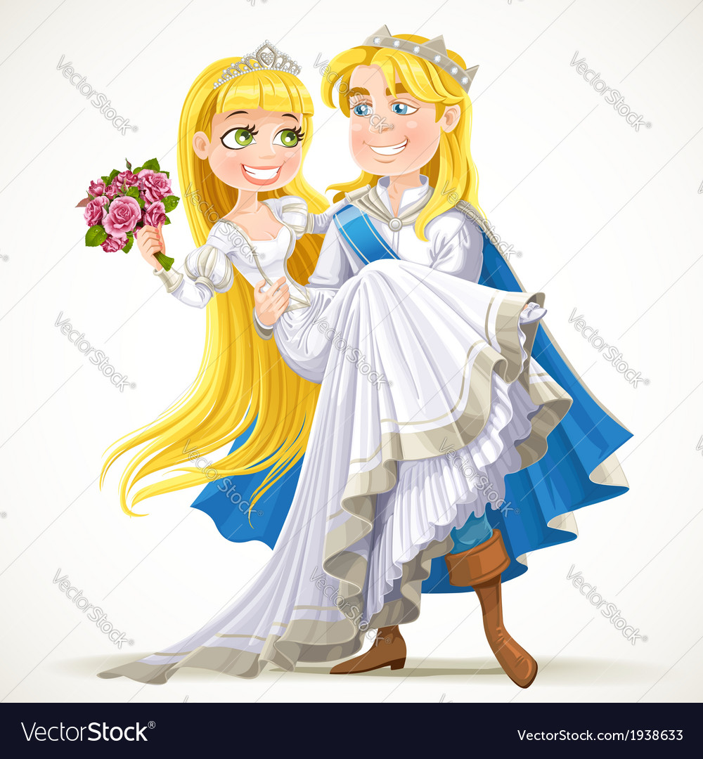 Wedding of prince charming and fairytale princess vector | Price: 5 Credit (USD $5)