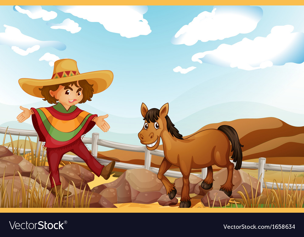 A man and a horse near the rocks vector | Price: 3 Credit (USD $3)