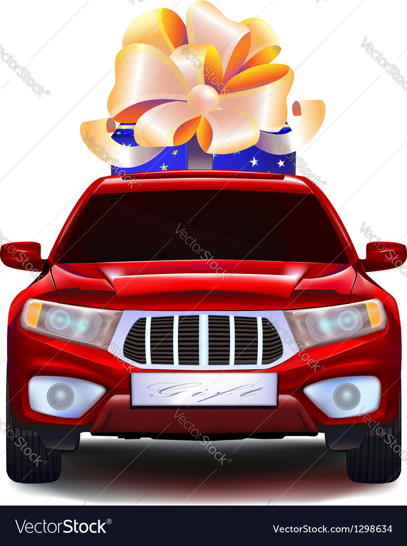 Auto with a gift in the trunk vector | Price: 3 Credit (USD $3)