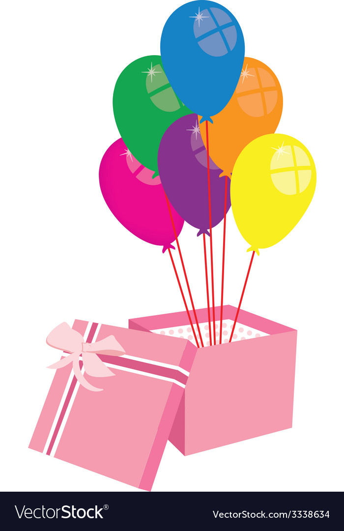 Box with balloons vector | Price: 1 Credit (USD $1)