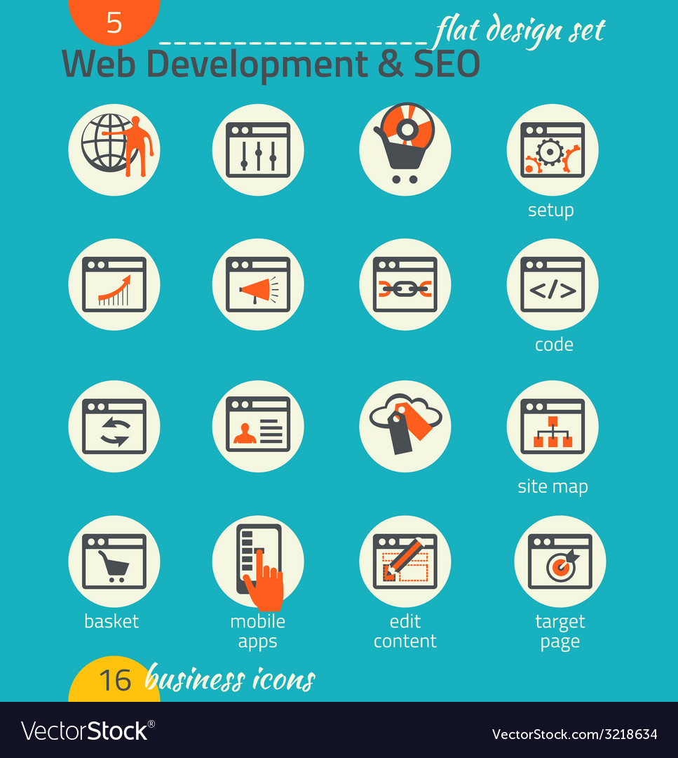 Business icon set software and web development seo vector | Price: 1 Credit (USD $1)