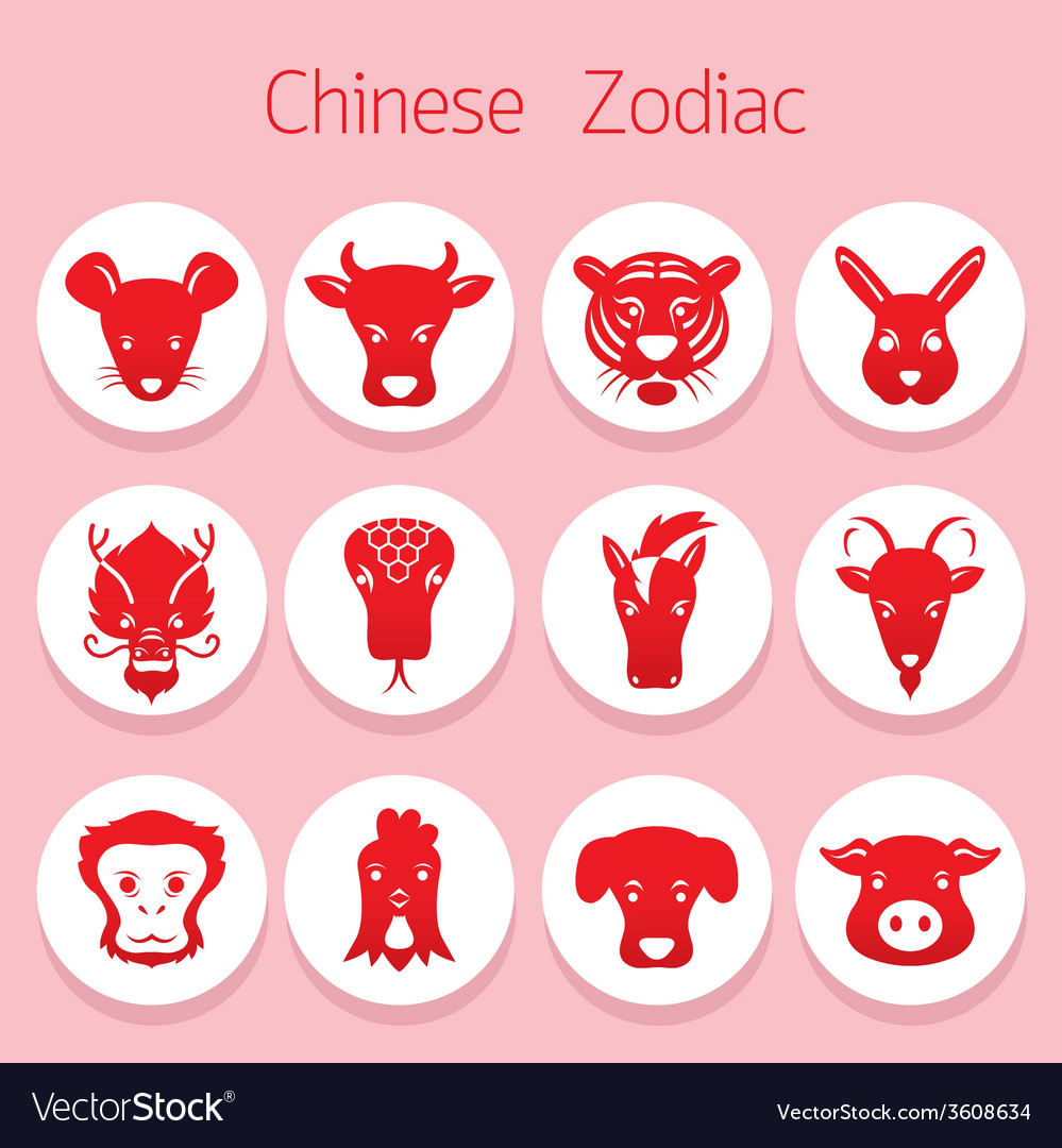 Chinese zodiac icons set vector   Price: 1 Credit (USD $1)