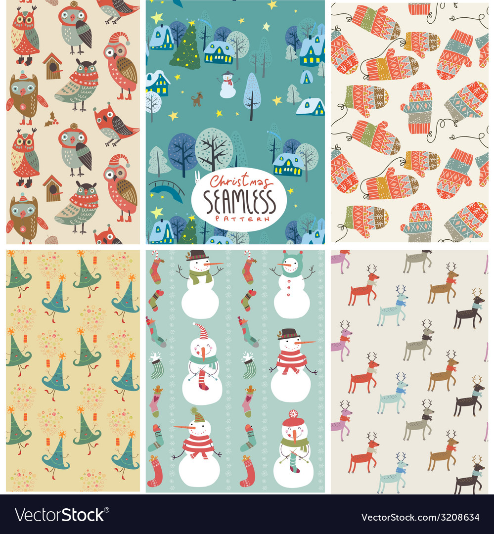Christmas pattern set vector | Price: 1 Credit (USD $1)