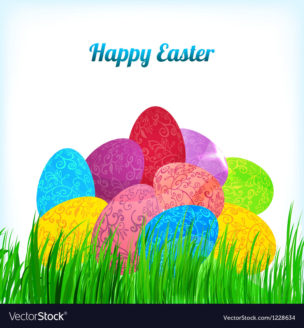 Easter background with ornament eggs on grass vector | Price: 1 Credit (USD $1)