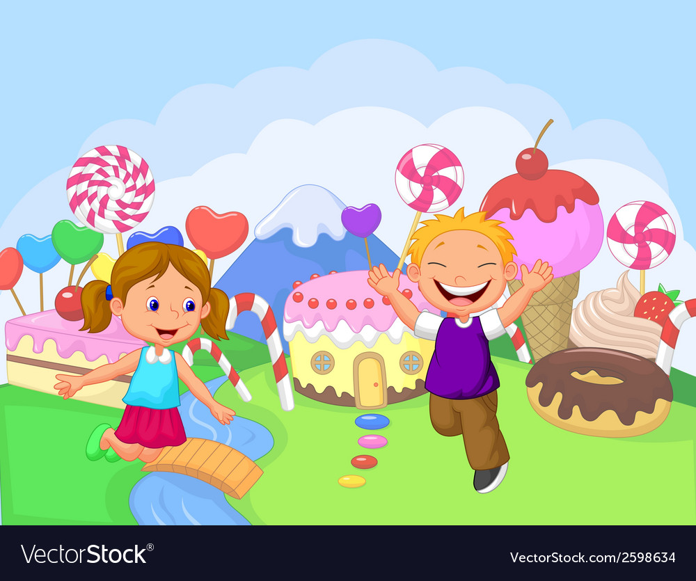 Happy children cartoon in the fantasy sweet land vector | Price: 1 Credit (USD $1)