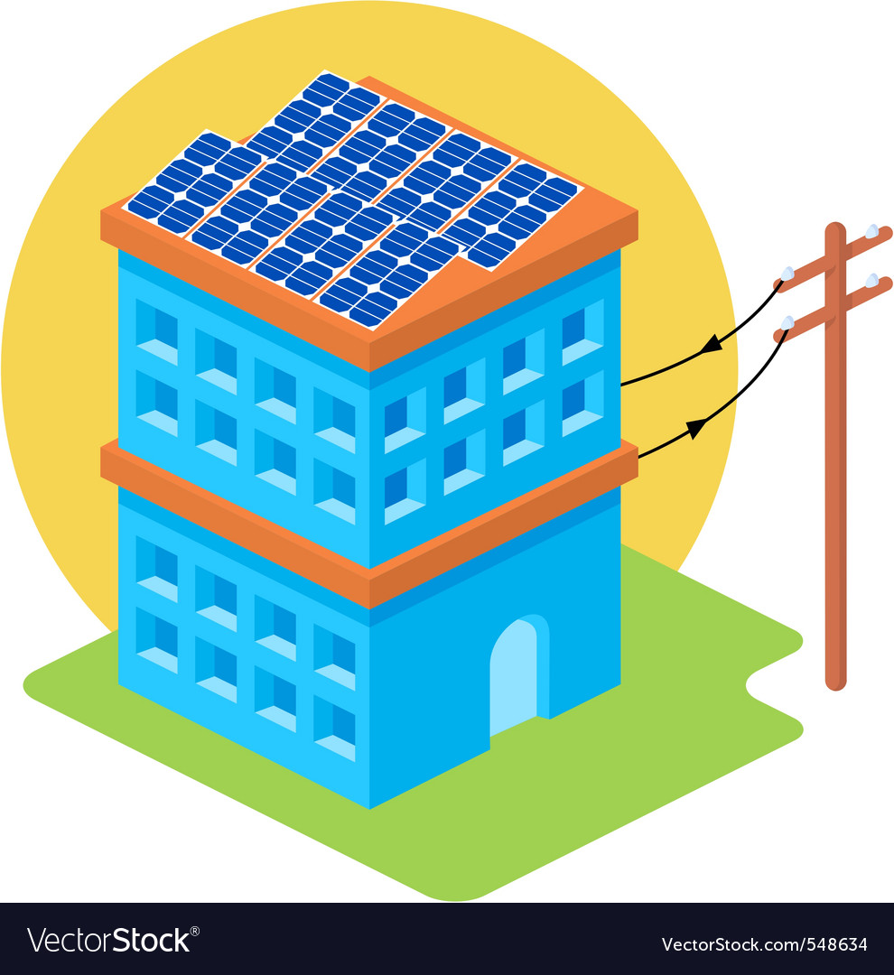 Isometric solar house vector | Price: 1 Credit (USD $1)