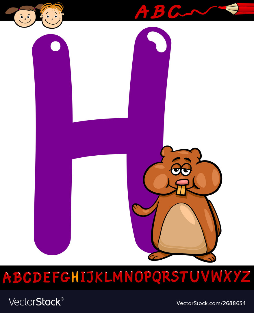 Letter h for hamster cartoon vector | Price: 1 Credit (USD $1)