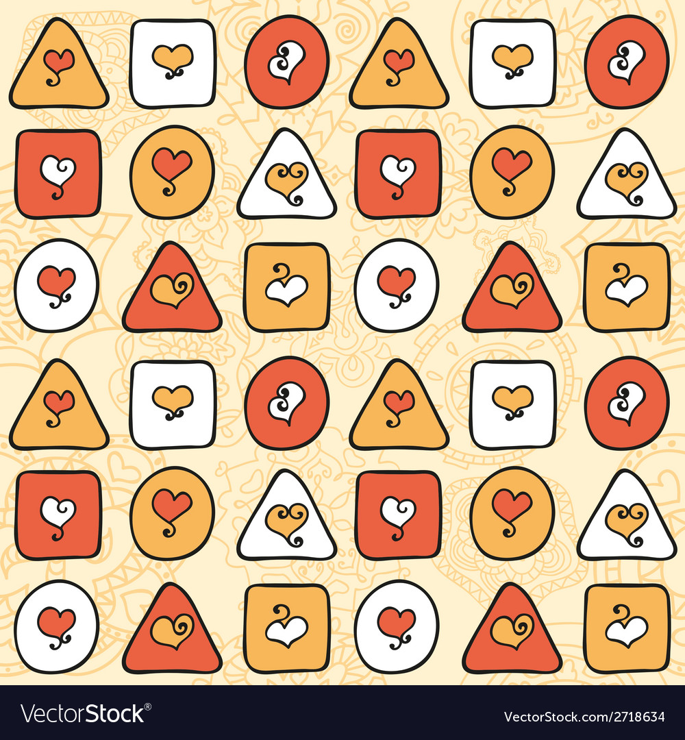 Pattern with hearts and figures on a beige vector   Price: 1 Credit (USD $1)
