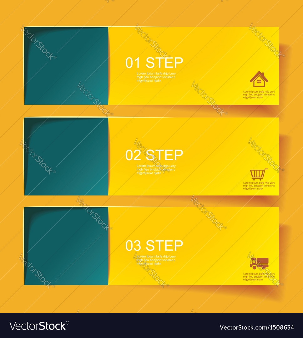 Set of bannerss step 1 2 3 with different shadow vector | Price: 1 Credit (USD $1)