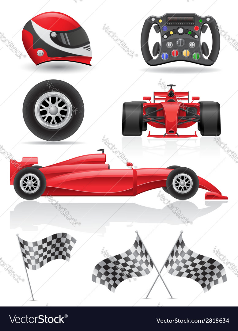 Set racing icons vector | Price: 3 Credit (USD $3)
