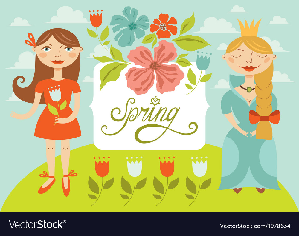 Spring girls vector | Price: 1 Credit (USD $1)
