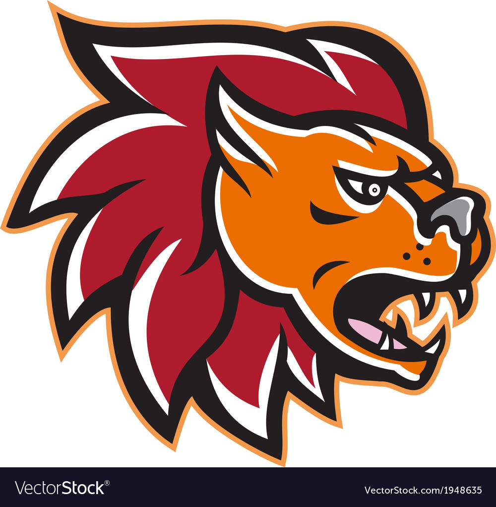 Angry lion big cat head side vector | Price: 1 Credit (USD $1)