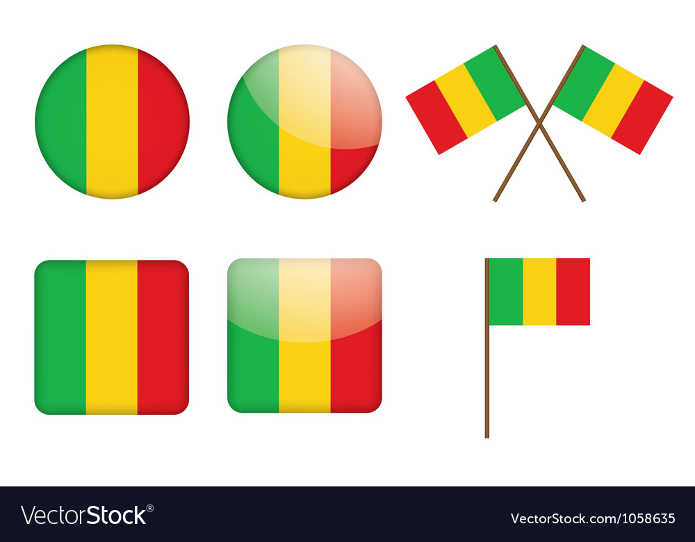 Badges with flag of mali vector | Price: 1 Credit (USD $1)