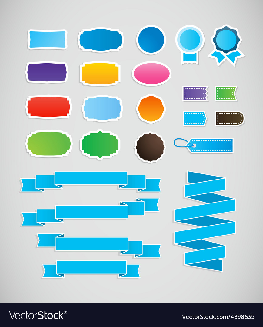 Colorful labels and ribbons tags vector | Price: 1 Credit (USD $1)