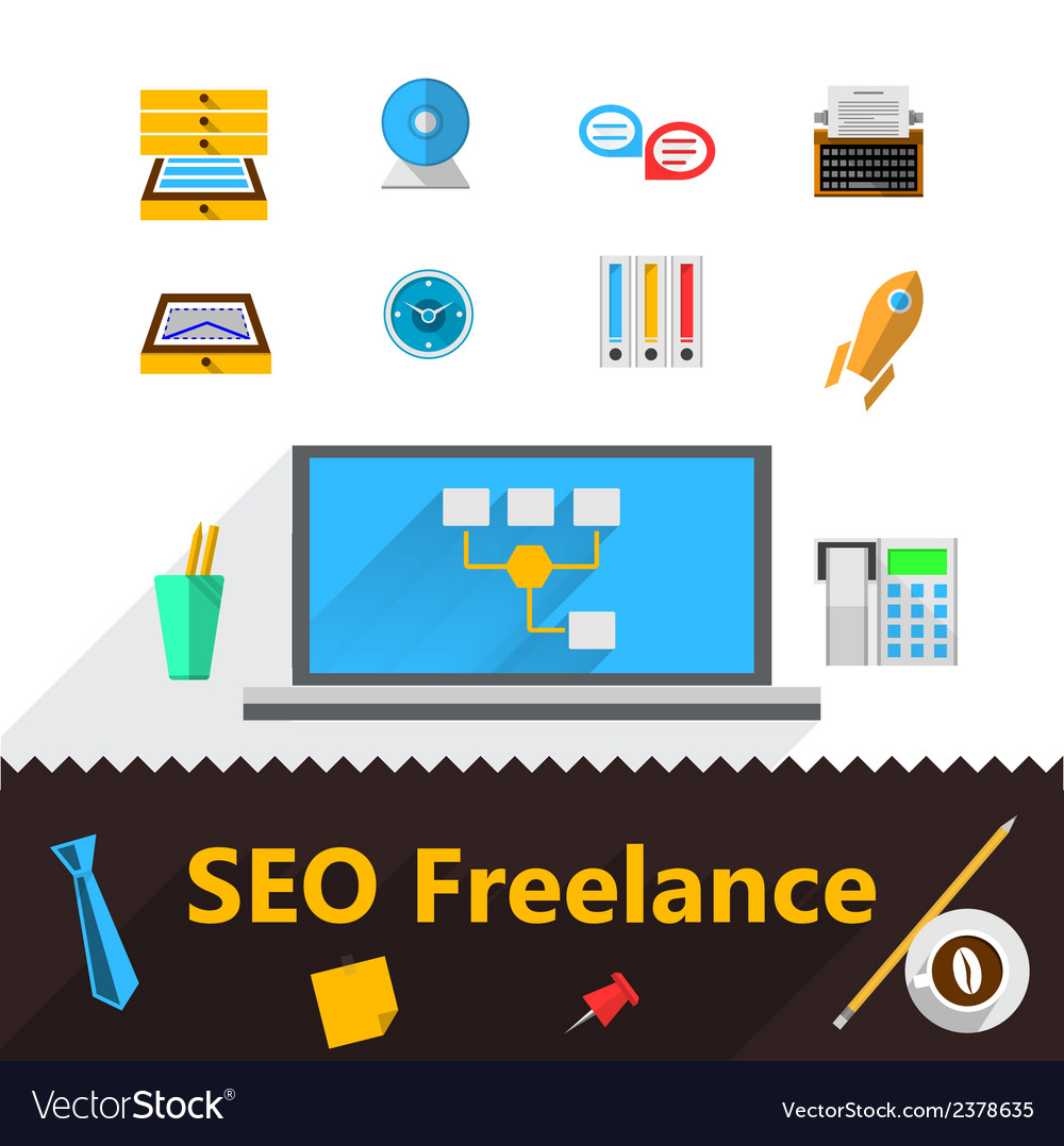 Flat icons for freelance and seo vector | Price: 1 Credit (USD $1)