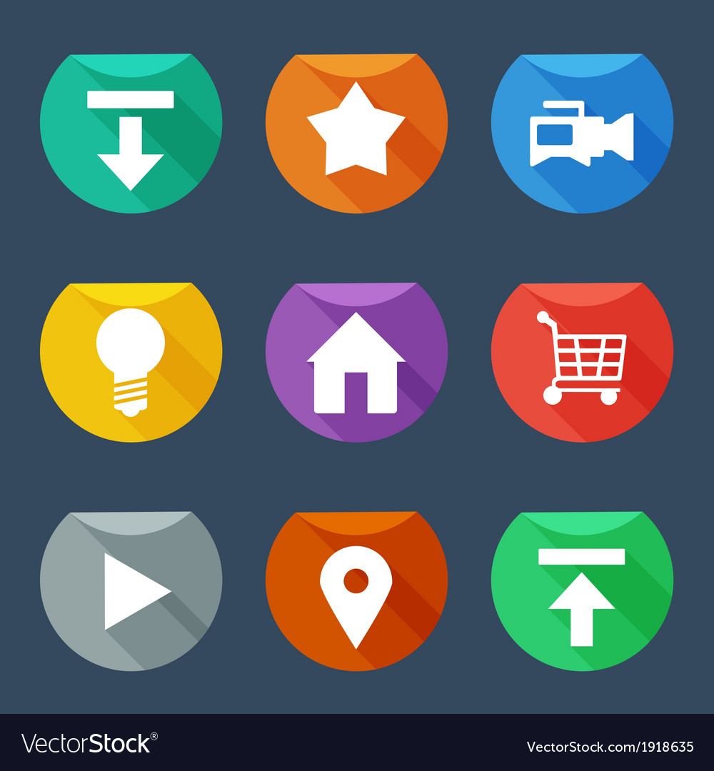 Flat ui icons set vector | Price: 1 Credit (USD $1)