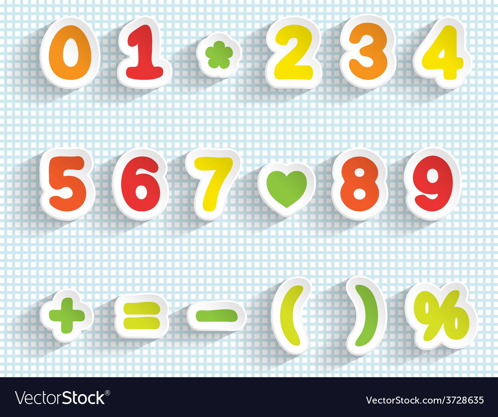 Paper digits and math signs handmade font vector | Price: 1 Credit (USD $1)