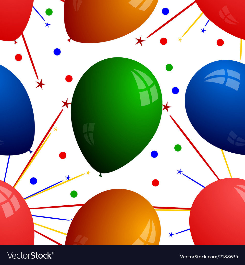 Seamless texture with balloons and fireworks vector | Price: 1 Credit (USD $1)