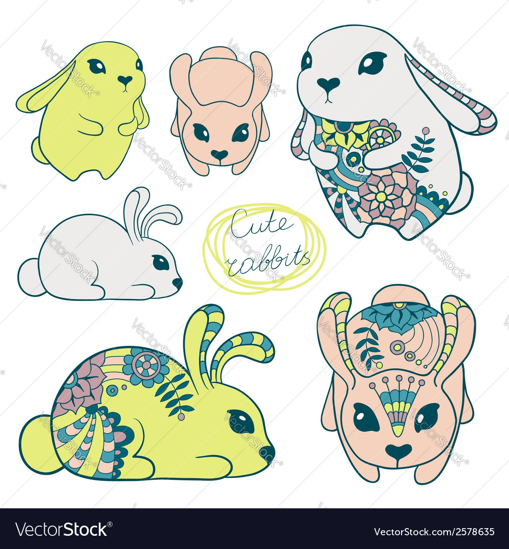 Set of cute rabbits vector | Price: 1 Credit (USD $1)