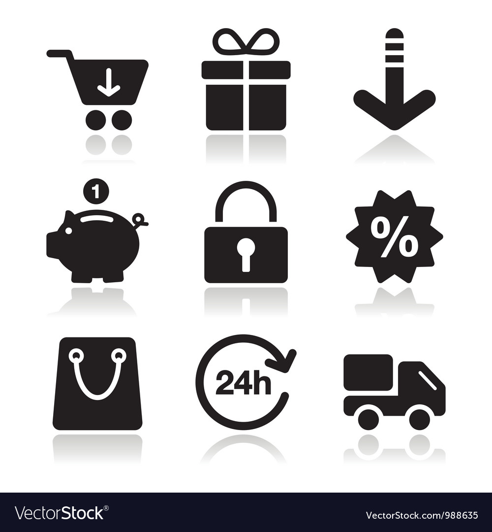 Shopping on internet black icons set with shadow vector | Price: 1 Credit (USD $1)