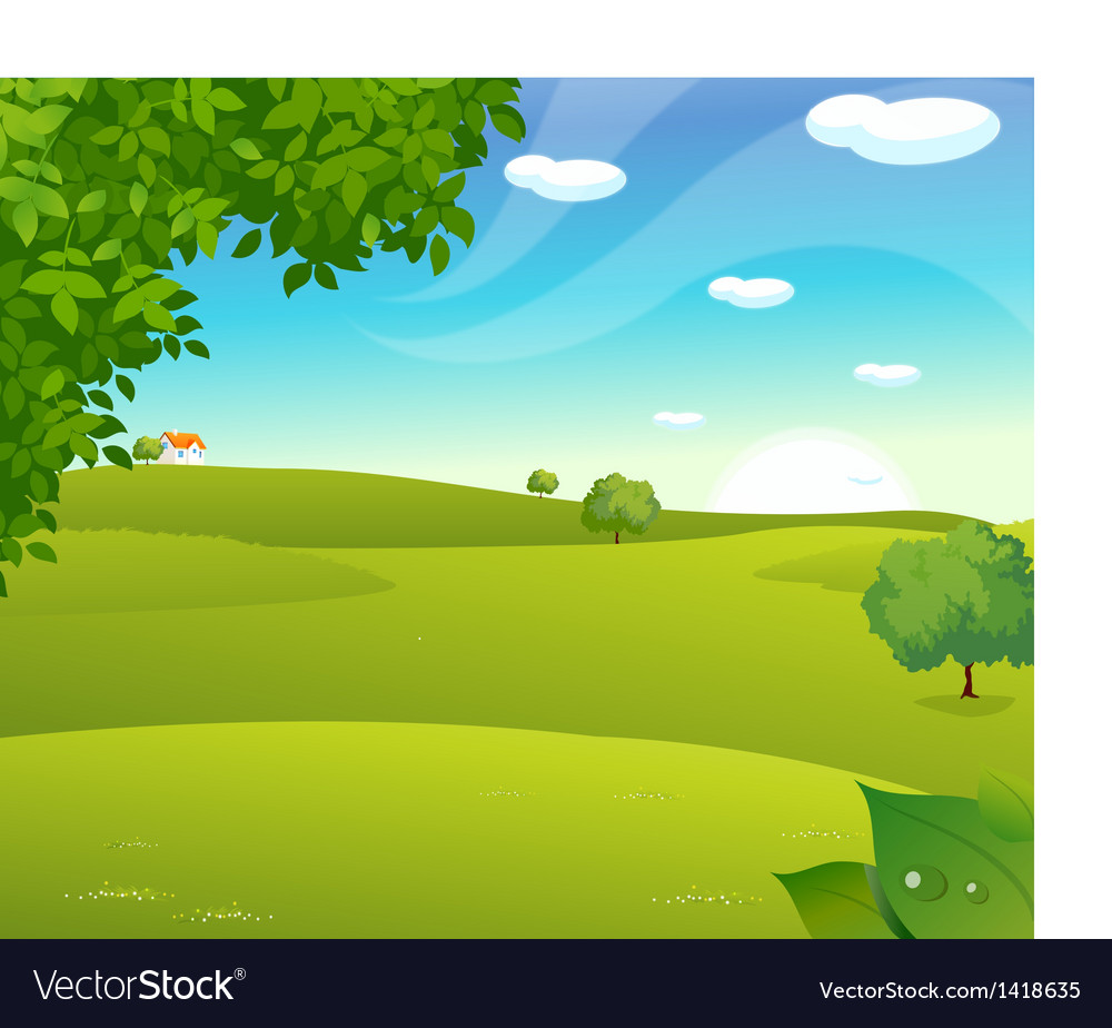 Sunrise green landscape vector | Price: 1 Credit (USD $1)