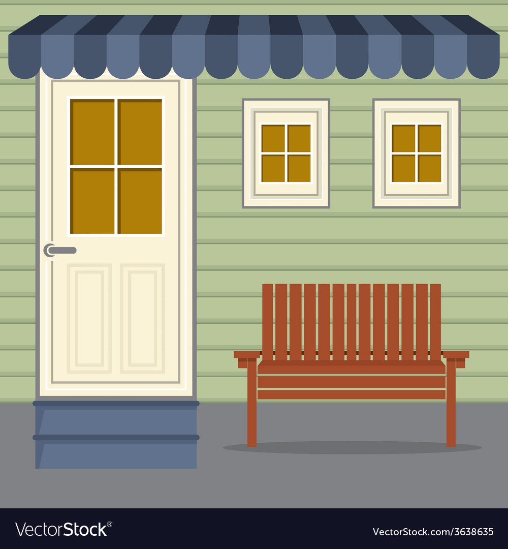 Wooden chair under stripes awning vector | Price: 1 Credit (USD $1)