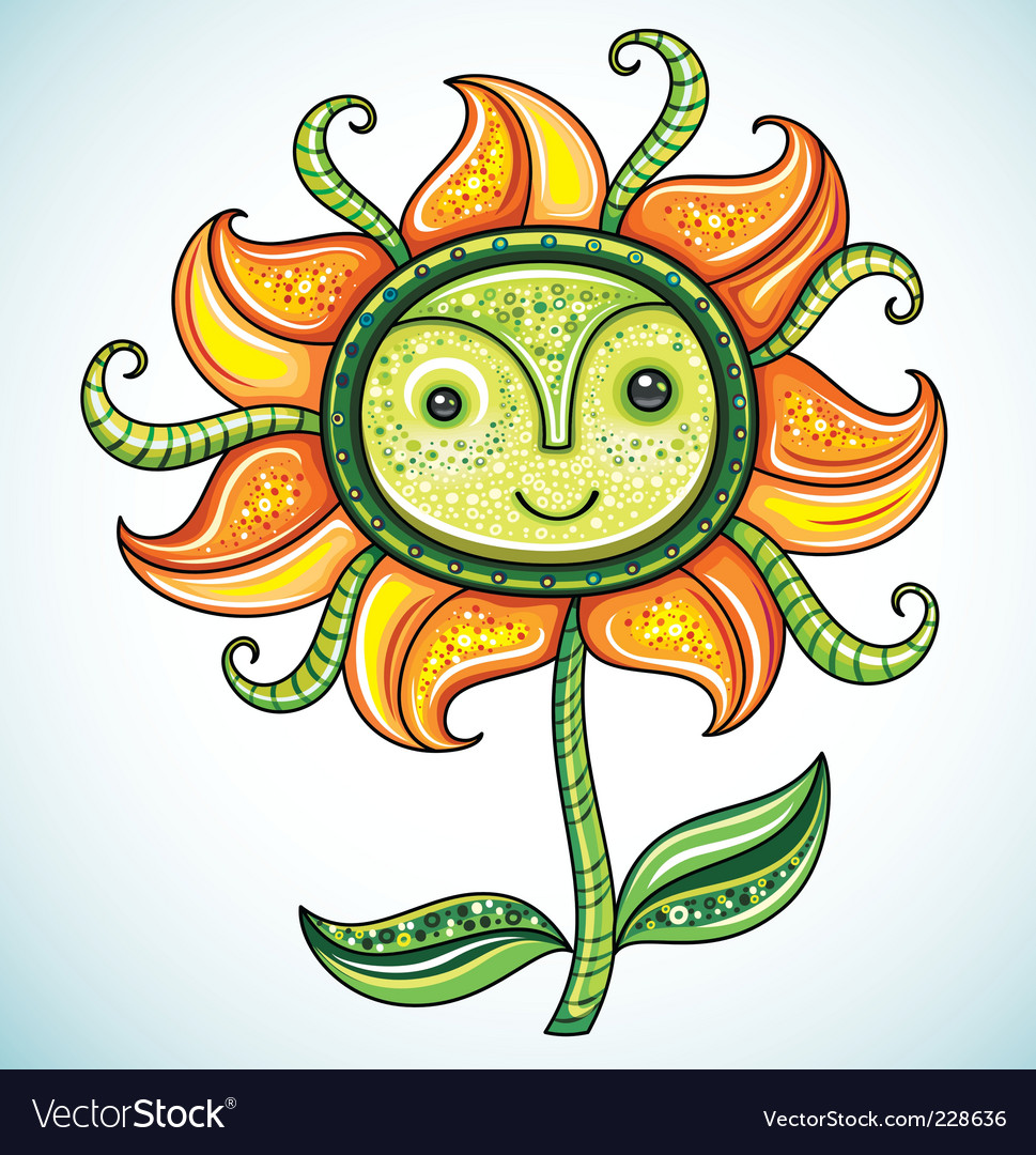 Cute friendly eco flower 2 vector | Price: 3 Credit (USD $3)