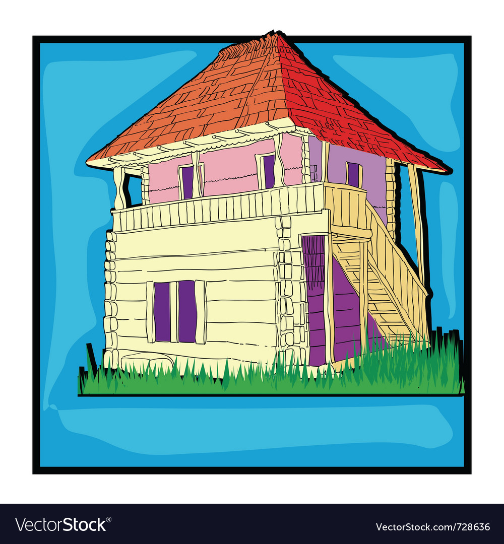 Ecological country house retro vector | Price: 1 Credit (USD $1)