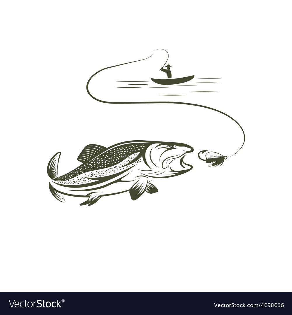 Fisherman in boat and salmon vector | Price: 1 Credit (USD $1)