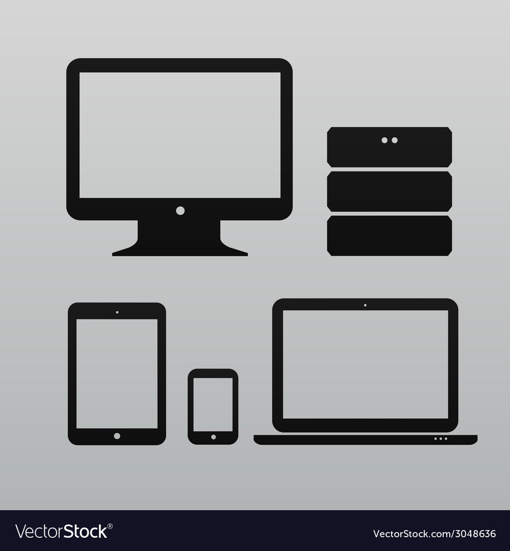Flat design ui device icons collections on light vector | Price: 1 Credit (USD $1)