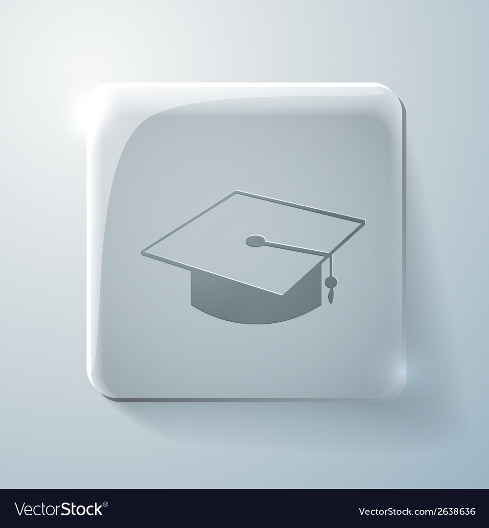 Graduate hat glass square icon with highlights vector | Price: 1 Credit (USD $1)