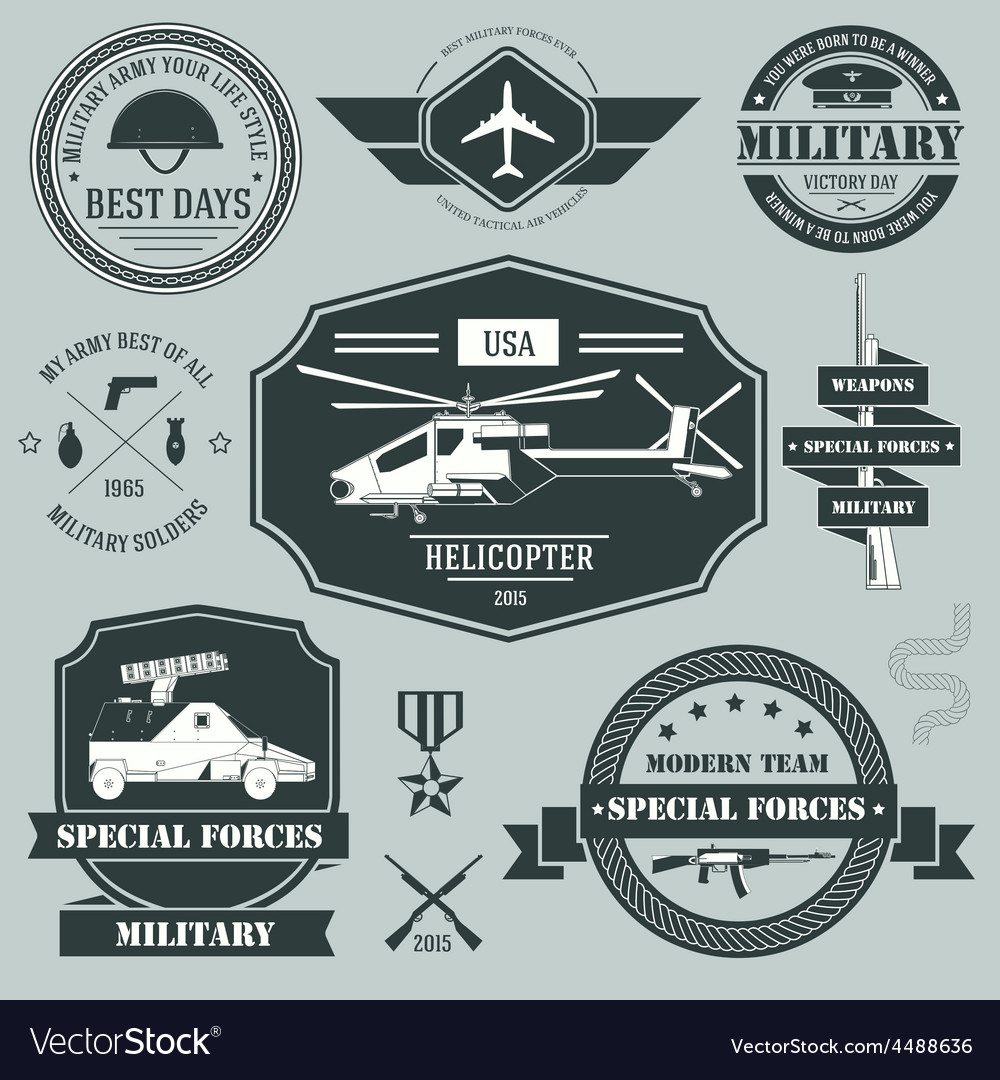 Military set label template of emblem element for vector | Price: 1 Credit (USD $1)