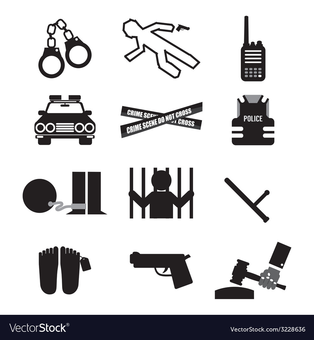Police and law icon set vector | Price: 1 Credit (USD $1)