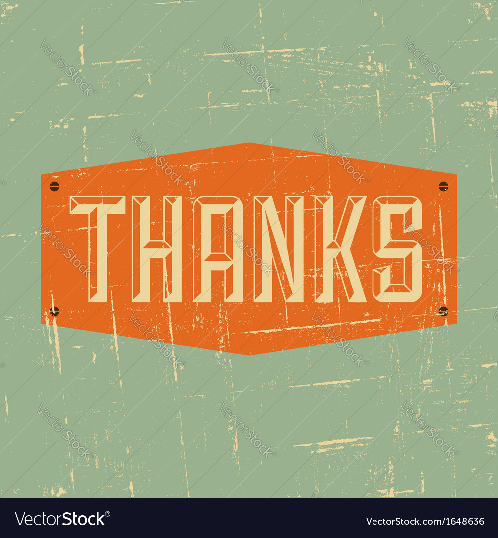 Vintage style thank you greeting card design vector