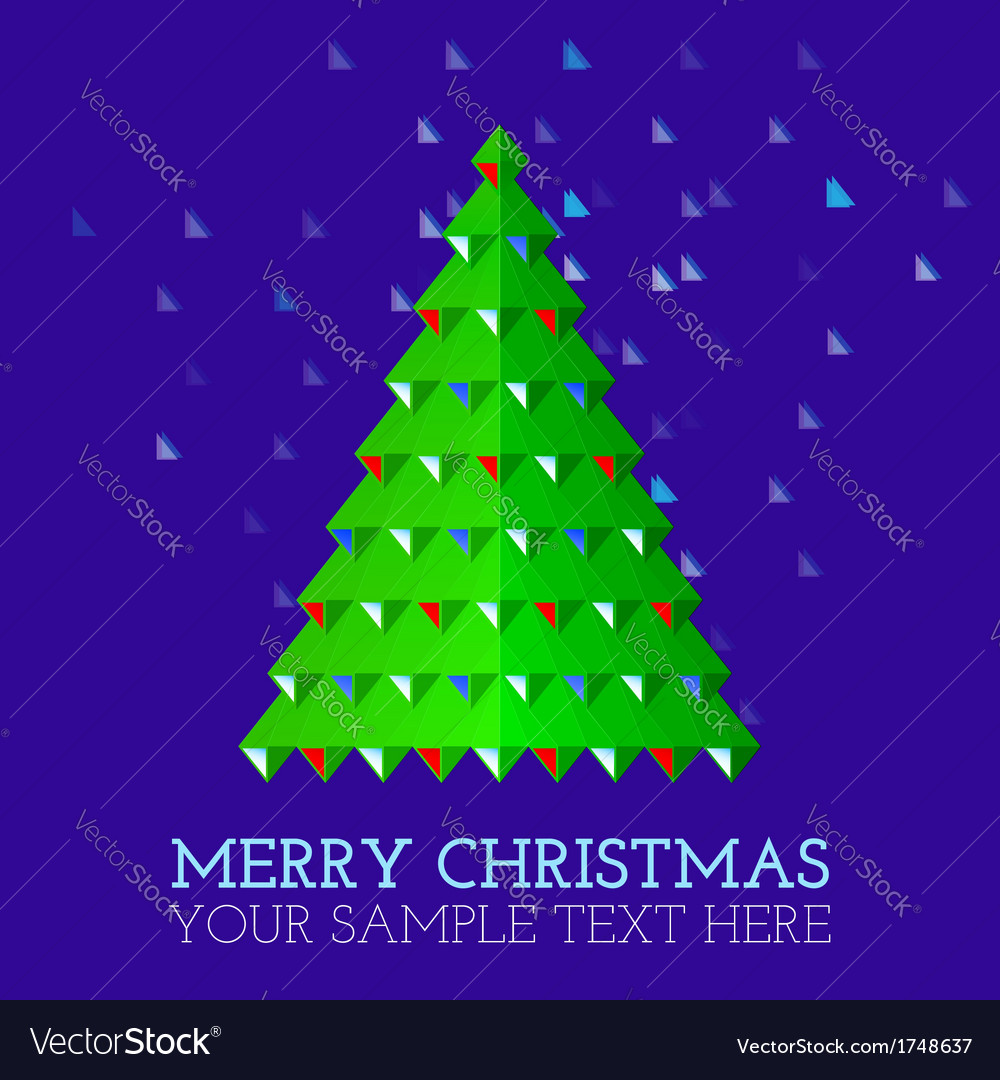 Christmas-greeting-card-abstract-christmas-tree vector | Price: 1 Credit (USD $1)