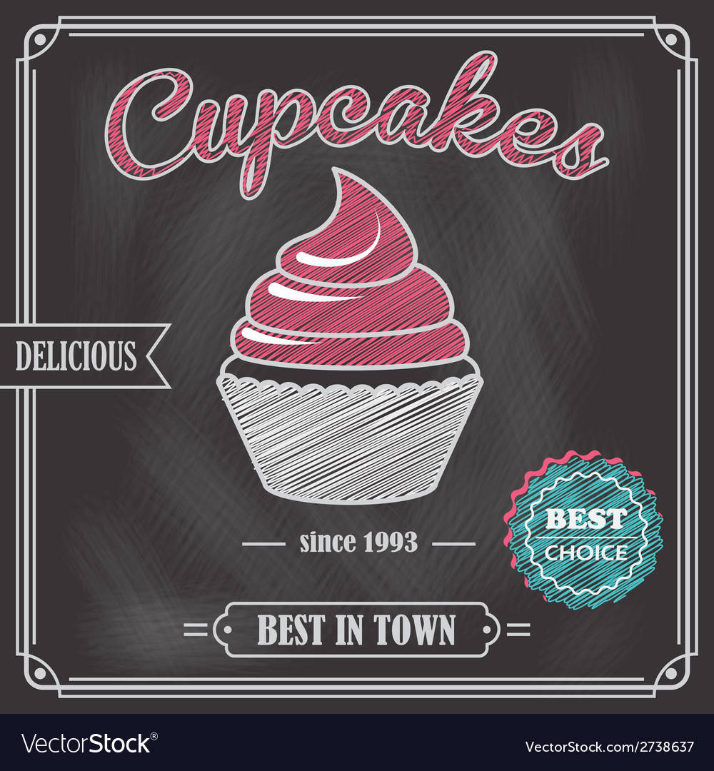 Cupcake chalkboard poster vector | Price: 1 Credit (USD $1)