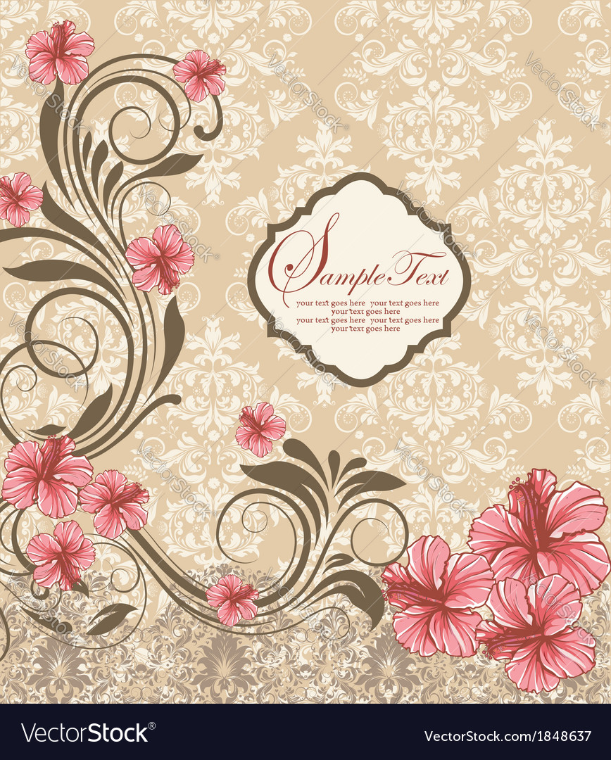 Elegant vintage damask floral invitation card vector | Price: 1 Credit (USD $1)