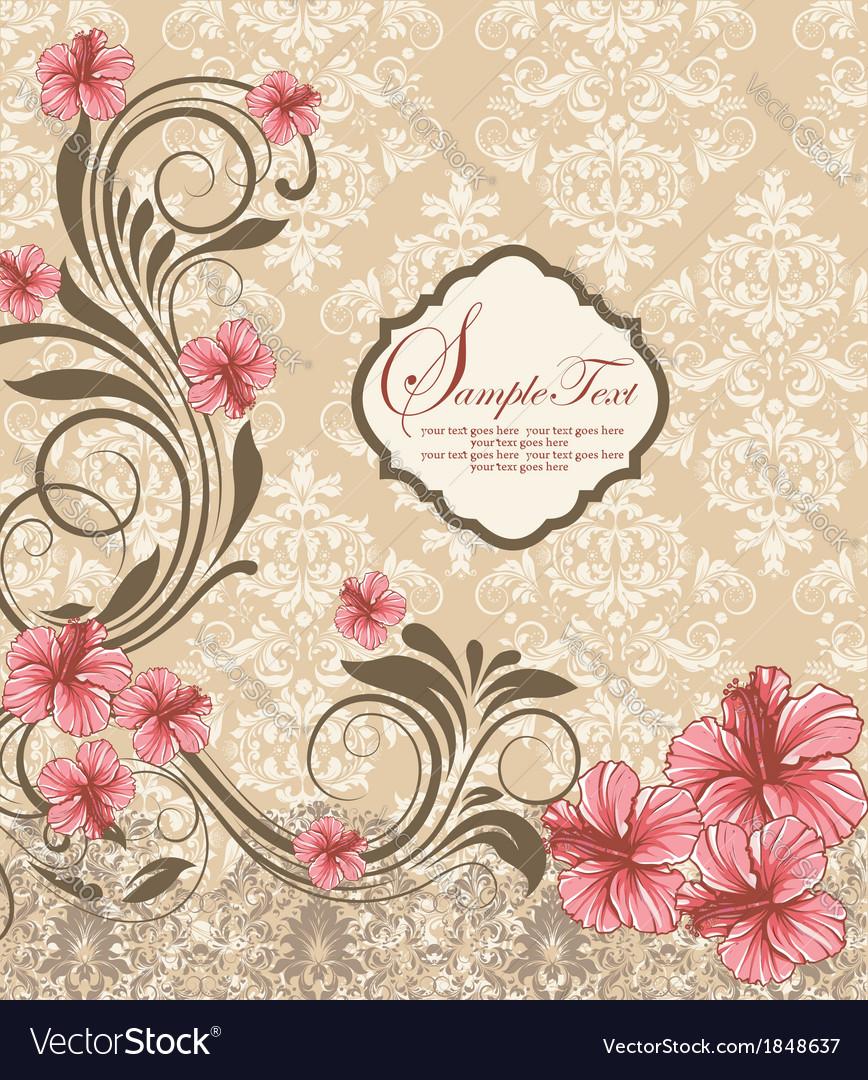 Elegant vintage damask floral invitation card vector | Price: 1 Credit (USD $1)